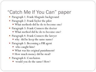 """Catch Me If You Can"" paper"