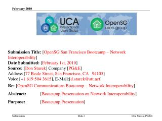 Submission Title: [ OpenSG  San Francisco  Bootcamp  – Network Interoperability ]