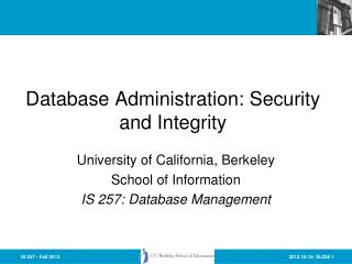 Database Administration: Security and Integrity