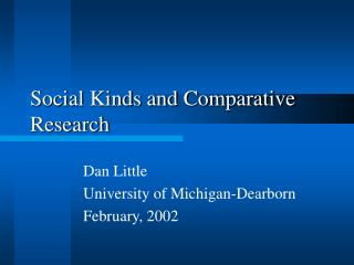 Social Kinds and Comparative Research