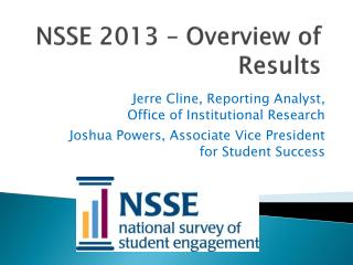 NSSE 2013 – Overview of Results