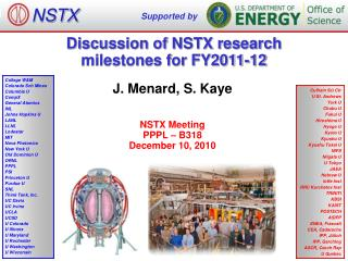 Discussion of NSTX  research  m ilestones for  FY2011-12