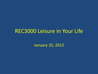 REC3000 Leisure in Your Life