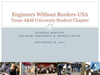 Engineers Without Borders-USA Texas A&M University Student Chapter