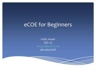 eCOE  for Beginners