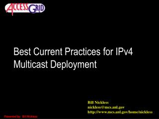 Best Current Practices for IPv4 Multicast Deployment