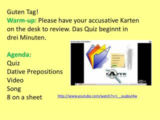 Guten  Tag! Warm-up:  Please have your accusative  Karten