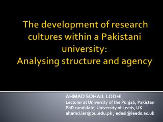 The development of research cultures within a Pakistani university: Analysing structure and agency