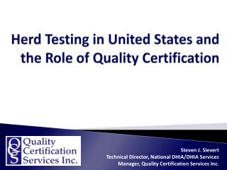 Herd Testing in United States and the Role of Quality Certification
