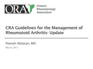 CRA Guidelines for the Management of Rheumatoid Arthritis- Update