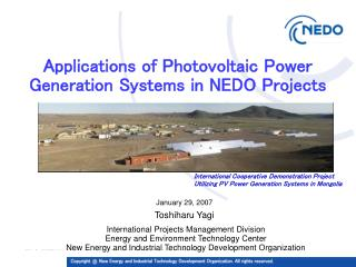 Applications of Photovoltaic Power Generation Systems in NEDO Projects