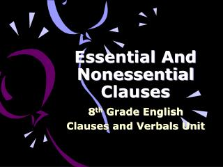 Essential And Nonessential Clauses