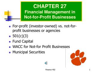 For-profit (investor-owned) vs. not-for-profit businesses or agencies 501(c)(3) Fund Capital WACC for Not-for Profit Bus