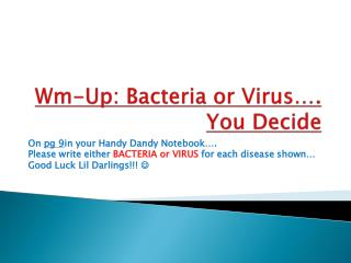 Wm-Up: Bacteria or Virus…. You Decide
