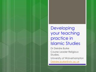 Developing your teaching practice in  I slamic Studies