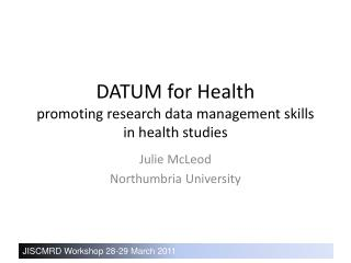 DATUM for Health promoting research data management skills in health studies