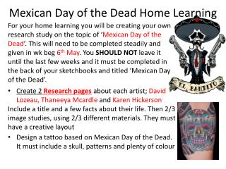 Mexican Day of the Dead Home Learning