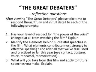 the great debaters questions and answers