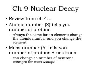 Ch 9 Nuclear Decay