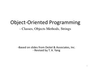 Object-Oriented Programming - Classes, Objects Methods, Strings