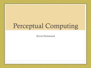 Perceptual Computing