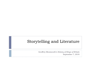 The Origin and History of Literature