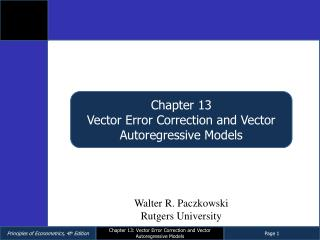Chapter 13 Vector Error Correction and Vector Autoregressive Models