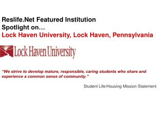 Reslife.Net  Featured Institution Spotlight on… Lock Haven University, Lock Haven, Pennsylvania