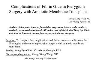 Complications of Fibrin Glue in Pterygium Surgery with Amniotic Membrane Transplant
