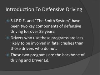 Introduction To Defensive Driving