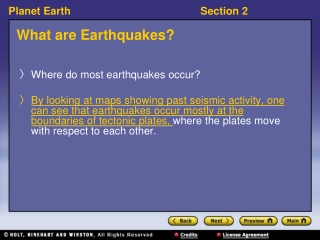 Earthquakes and Volcanoes Section 2