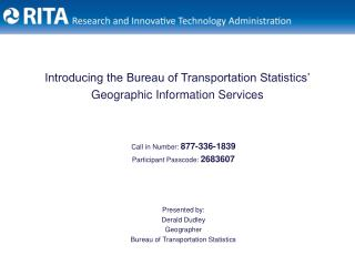Introducing the Bureau of Transportation Statistics' Geographic Information Services