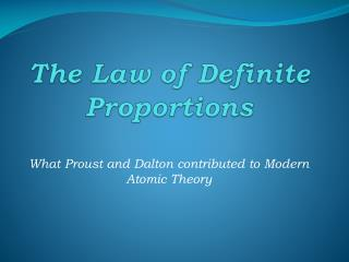 The Law of Definite Proportions
