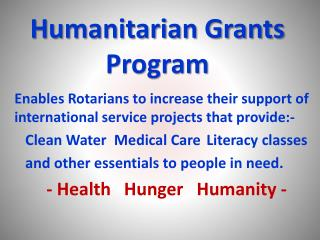 Humanitarian Grants Program