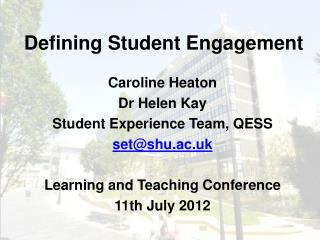 Defining Student Engagement