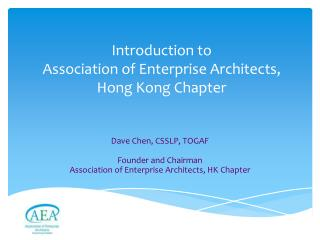 Introduction to  Association of Enterprise Architects,  Hong Kong Chapter