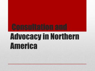 Consultation and Advocacy in Northern America