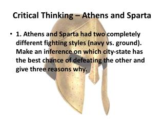Critical Thinking – Athens and Sparta