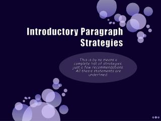 Introductory Paragraph Strategies