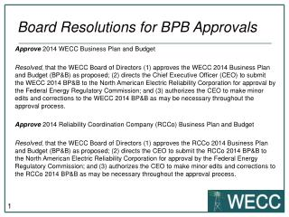 Board Resolutions for BPB Approvals