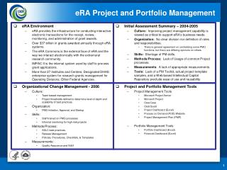 eRA  Project and Portfolio Management