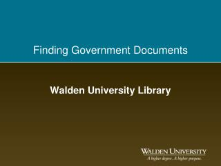 Finding Government Documents