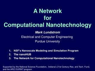 A Network  for  Computational Nanotechnology