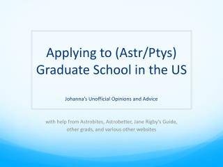 Applying to ( Astr /Ptys) Graduate School in the US
