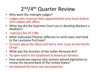 2 nd /4 th  Quarter Review