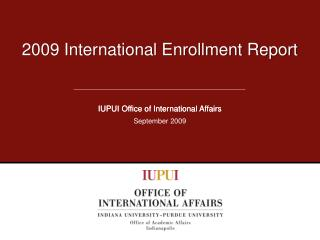 2009 International Enrollment Report