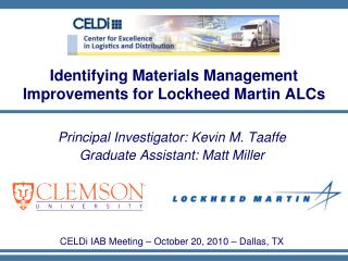 Identifying Materials Management Improvements for Lockheed Martin ALCs