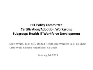 HIT Policy Committee Certification/Adoption Workgroup  Subgroup: Health IT Workforce Development