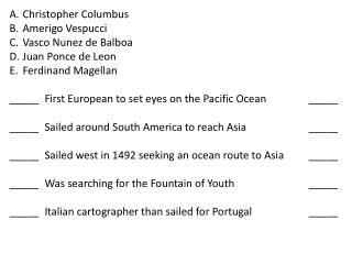 Christopher Columbus Amerigo  Vespucci Vasco Nunez de Balboa Juan Ponce de Leon Ferdinand Magellan