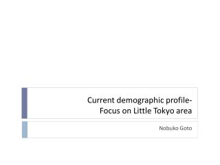 Current demographic profile- Focus on Little Tokyo area